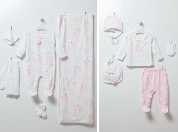 10-teiliges-Neugeborenen-Set-Flamingo-Girl-6891-weiss