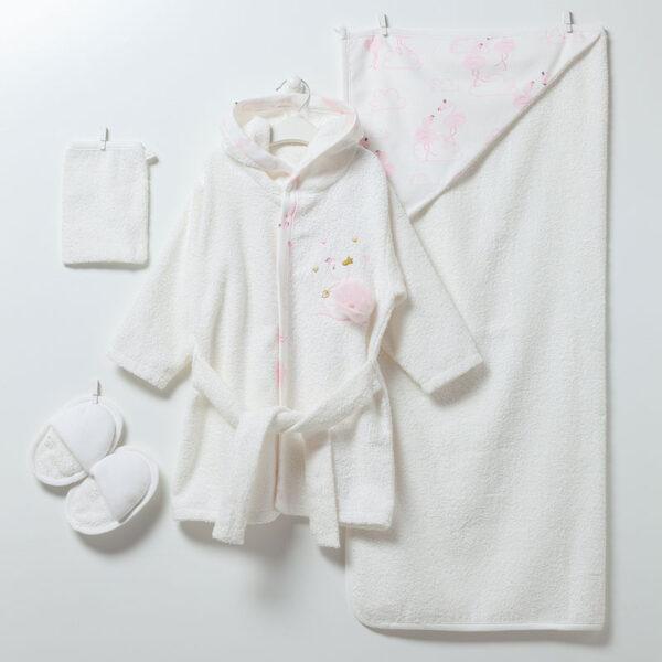 4-teiliges-Bade-Set-Flamingo-Girl-6913-weiss