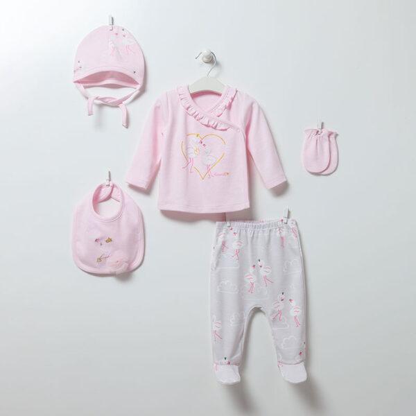 5-teiliges-Neugeborenen-Set-Flamingo-Girl-6890-rosa