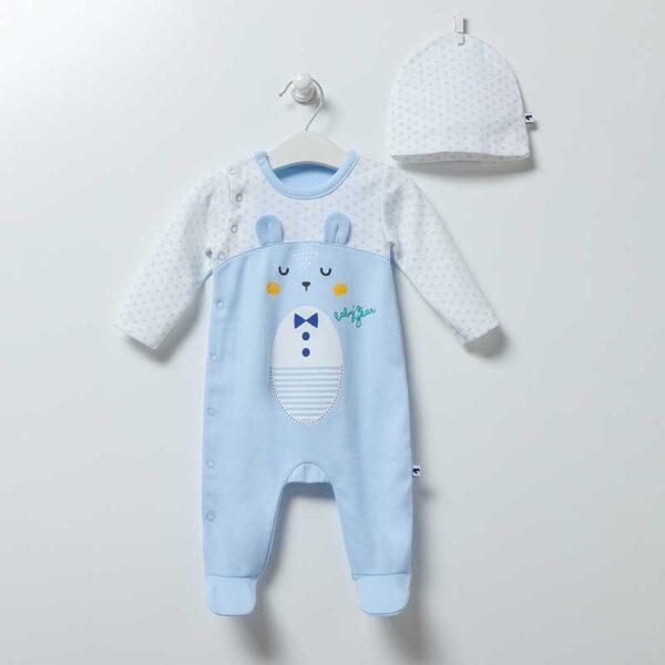 Baby Bear Strampler mit Mütze Artikel 6864-Blau