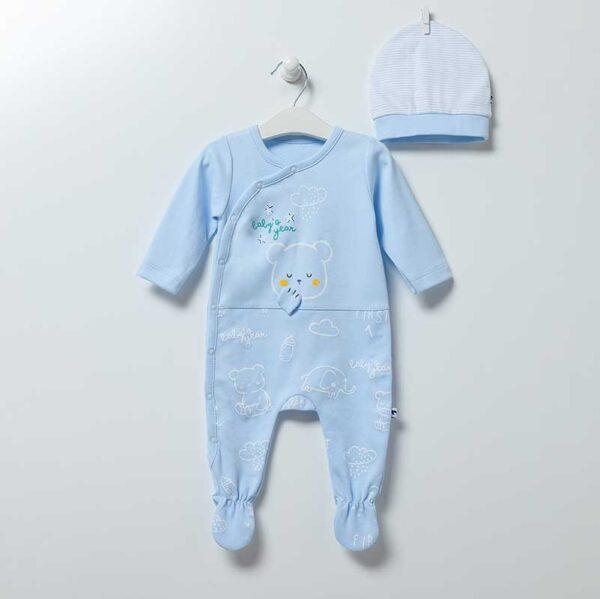 Baby Bear Strampler mit Mütze Artikel 6865-Blau