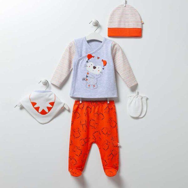 Tiger 5-teiliges Neugeborenen Set Artikel 6886-oranj