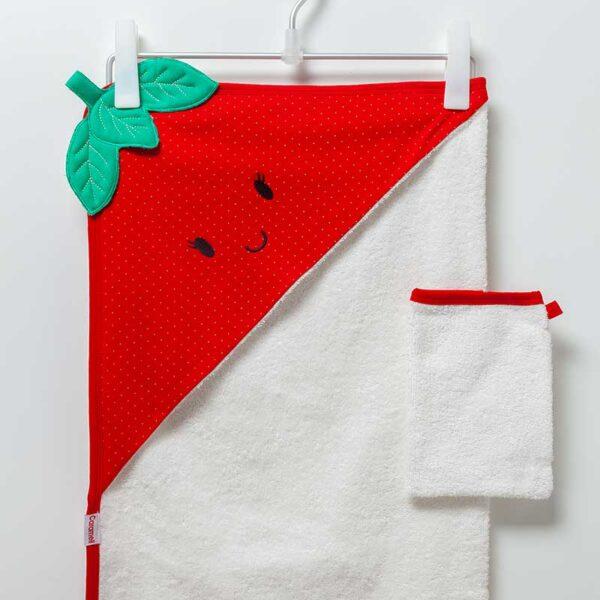 Strawberry Girl – Kaputzenhandtuch mit Waschhandschuh