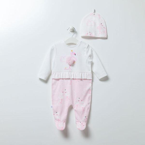 Strampler-mit-Muetze-Flamingo-Girl-6893-weiss