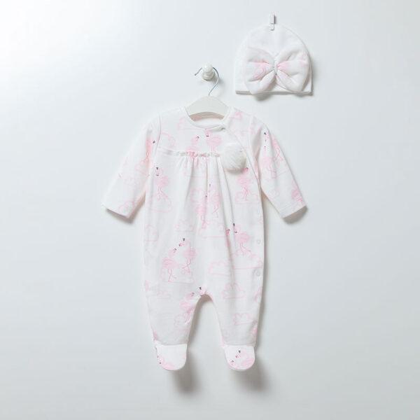 Strampler-mit-Muetze-Flamingo-Girl-6894-weiss